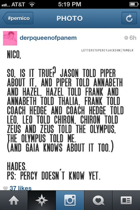 Perico.... Wow thats more gossiping then the Aphrodite cabin. <---- That comment. << pin is funny because of the P.S. XD
