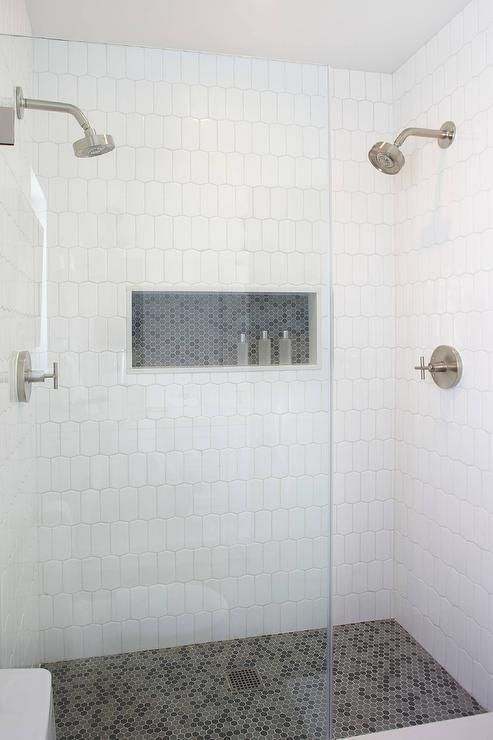 Spacious Walk In Shower Boasts Walls Clad In White Geometric Tiles