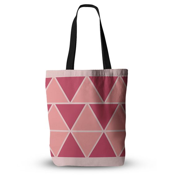 """NL designs """"Coral Peach Triangles"""" Pink Patterns Everything Tote Bag"""