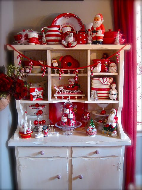 Love this vintage red and white display: