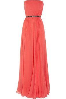 belted silk chiffon dress