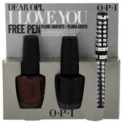 Dear OPI I Love You Nail Polish Duo with An Affair In Red Square + Lincoln Park After Dark - 15ml/.5oz each with Free Ultra Glam Pen