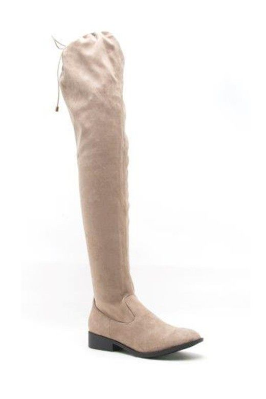 """Over the knee, faux suede flat boots. Heel:1.25"""" Round toe. Drawstring collar…"""