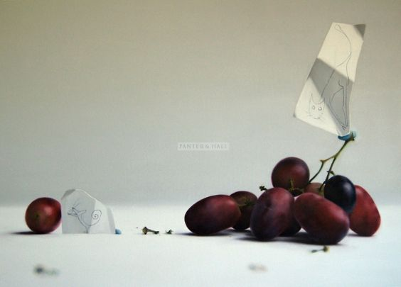 Donald Macdonald: Red Grapes -  oil on canvas 31.5 x 43 ins (80 x 109 cms) £3,000 ---> Jugando al gato y al ratón
