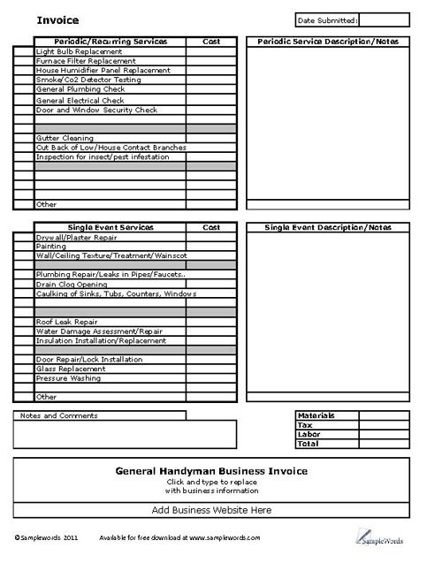 Handyman Business Invoice Form In Microsoft Excel Format For Use By A General Handyman Handyman Business Estimate Template Invoice Template Word