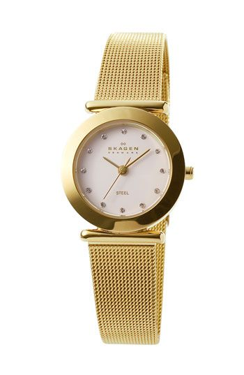 Skagen ladies gold mesh watch nordstrom accessories pinterest skagen mesh and mesh band for Watches nordstrom