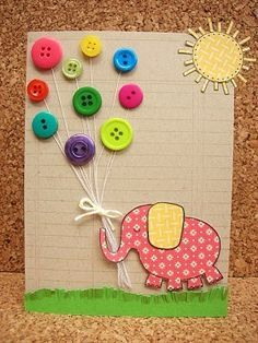 I was inspired by the button balloons! I made the cutest baby shower card with a little baby bundle being carried by button balloons. However, I did not use string, I just drew the strings. I used all shades of pink buttons because they are expecting a girl. I used hot glue to attach the buttons and my cricut machine to cut out the baby bundle.: