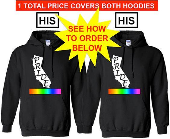 CALIFORNIA PRIDE His and His Lgbtq Pride Hoodie by ALLGayTees