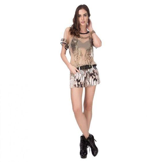 Quem Gostou ? eu Amei!!   Short Sarja Estampa Maxi Penas  COMPRE AGORA!  http://imaginariodamulher.com.br/look/?go=2cmGKx7 #comprinhas