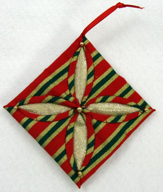 Holiday Stripe Cathedral Window Quilted Christmas Ornament 523 Belle, Window and Cathedral ...