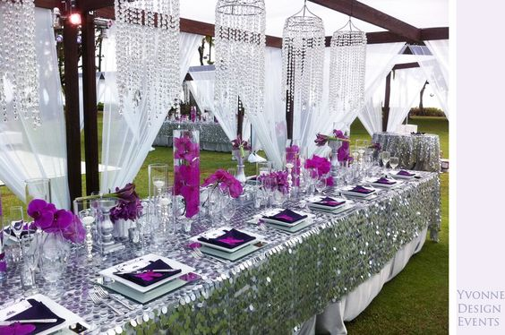 Purple and silver with glitter pictures table for Silver centerpieces for dining table