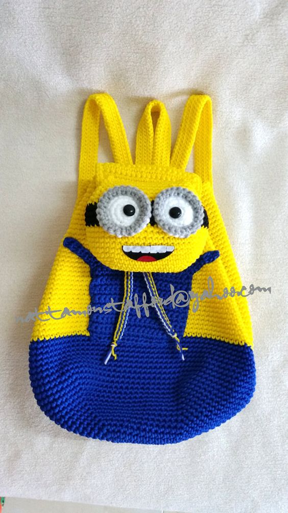 Minion  backpack, Handmade crochet backpack  birthday gift, christmas…: