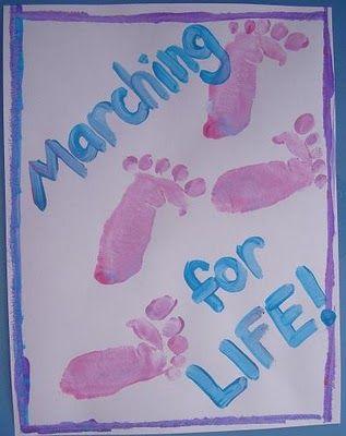 Pro Life Craft for Kids: Marching for Life: Crafts For Kids, Fingerprint Art, Footprint Arts, Handprint Crafts, Hand Footprint Art, Arts Crafts, Footprint Crafts, Classroom Crafts, Craft Ideas