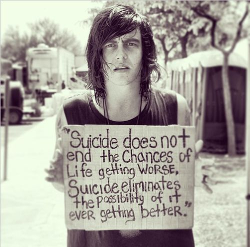 Kellin Quinn, Sleeping With Sirens, suicide quote