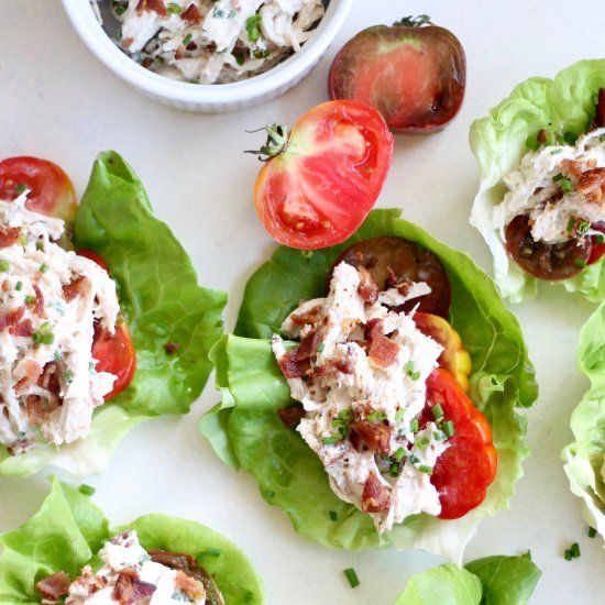 These lettuce wraps are the perfect summer lunch. Lightened up chicken salad infused with BLT flavors, stuffed in a refreshing lettuce cup!