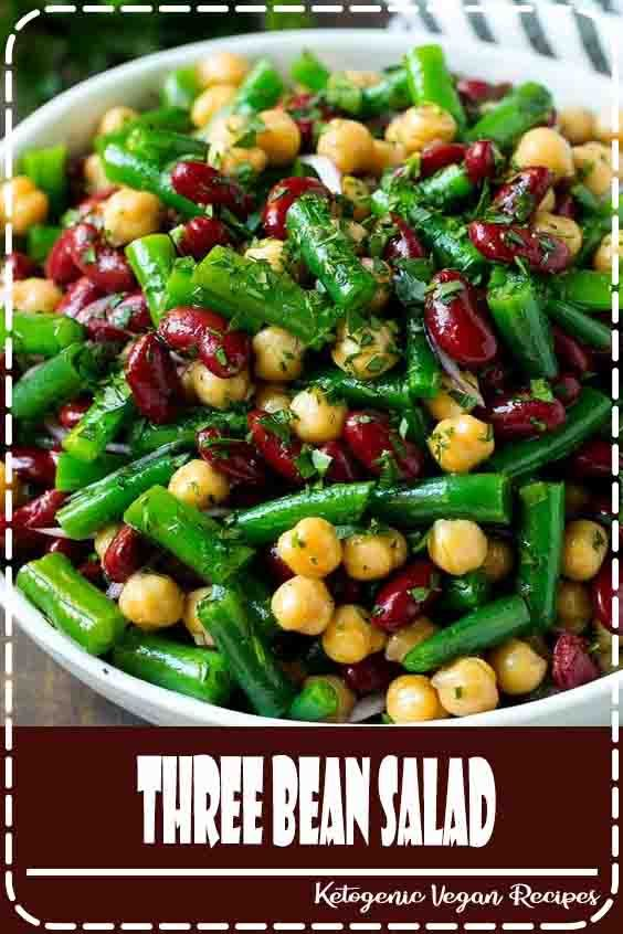 This Three Bean Salad Is A Blend Of Kidney Beans Green Beans And Garbanzo Beans All Tossed In A Sweet And Bean Salad Recipes Green Bean Dishes Greens Recipe
