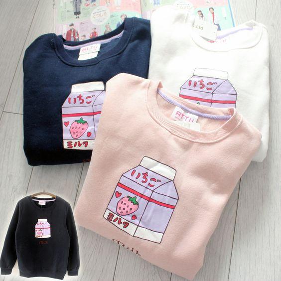 Strawberry milk box fleece sweatshirt · Cute Kawaii ...
