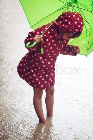 Love this picture, I think it is the lime green umbrella & the red spotted coat. I love these two colours at the moment!!