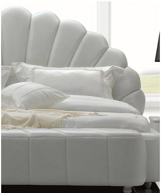 Shell Headboard | ... >> Contemporary Bedroom >> Shell White Modern Leatherette Bed: