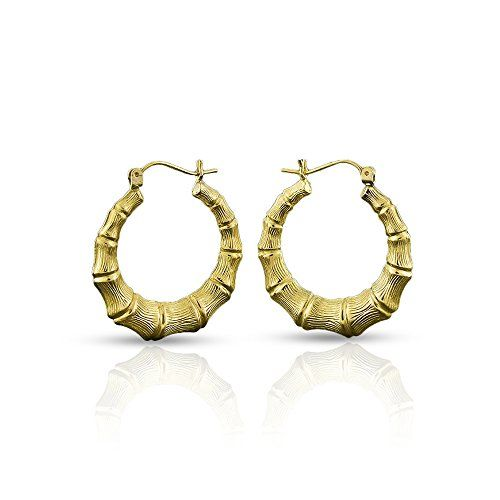 10k Yellow Gold Womens Fancy Bamboo Door Knocker Hoop Earrings Sizes 1 1 3 4 1 4 Inches Material 10k Ye Hoop Earrings Gold Earrings Yellow Gold Earring