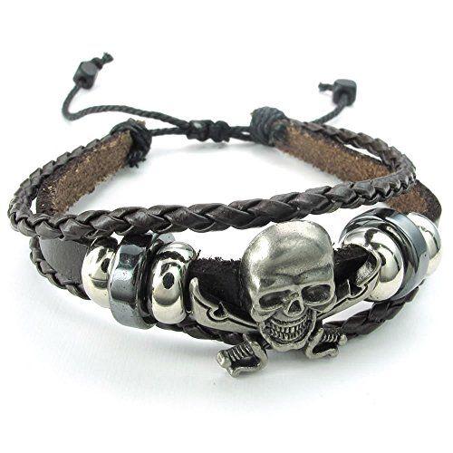 KONOV Schmuck Herren Damen Armband, Geflochten Gotik Piraten Totenkopf Schädel Charm Armreif, 18-23cm Verstellbaren Größen, Leder Echtleder Legierung, Braun