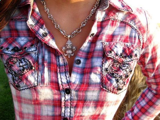 Plaid western shirt with bull embroidery