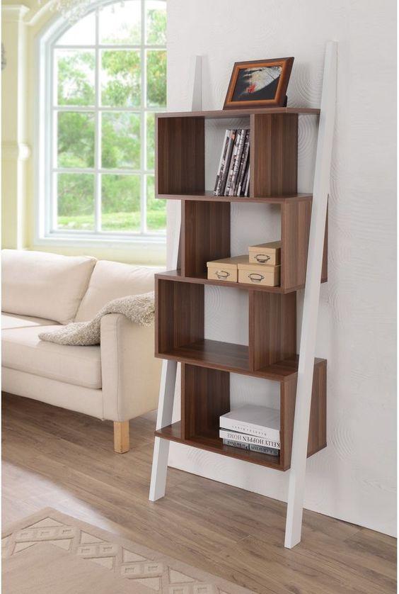 Bookshelf Display Stand Modern White Finish Veneer Wood Contemporary Furniture #FurnitureofAmerica #ContemporaryMidCenturyModernUrban #Modern #Bookshelf #Furniture #Stand