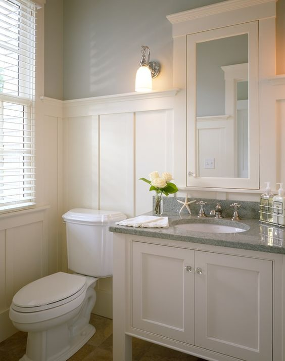 white wainscoting bathroom white vanity with grey granite top wainscoting beige 15165