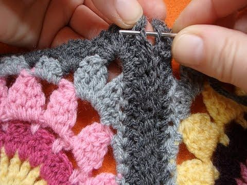 02 How To Join Granny Squares With Invisible Flat Hidden Seam Youtube Joining Granny Squares Granny Square Joining Crochet Squares