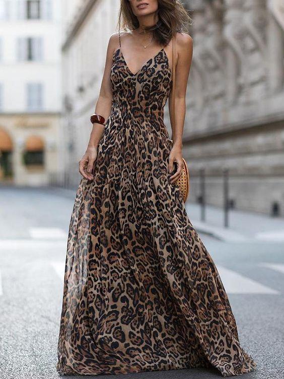 Vestido maxi de tirantes de espagueti con cuello en V de leopardo (S/M/L/XL) $34.99