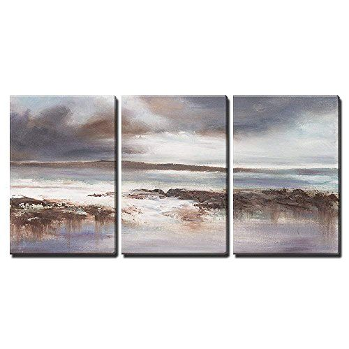 Stormy Beach Seascape X3 Panels Painting Painting Style Seascape