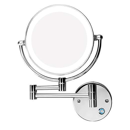 Gurun 8 Inch 2 Face Wall Mount Makeup Mirrors With 5x Magnification Antique Brass Finished M140 Wall Mounted Makeup Mirror Makeup Mirrors Chrome Makeup Mirror