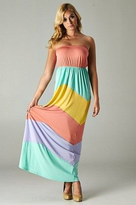 NEW WOMEN PASTEL STRIPED MAXI DRESS Strapless Soft Jersey Long Color B – Butterfly Boutique