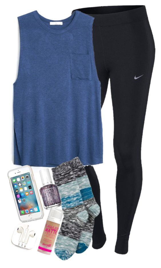 """""""i just wanna be okay be okay be okay i just wanna be okay today"""" by elizabethannee ❤ liked on Polyvore featuring NIKE, MANGO, Hue, Essie, Barry M and PhunkeeTree"""