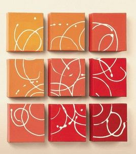 Paint mini canvases, put together in a square, use squeeze bottle to swirl white paint over all of them.