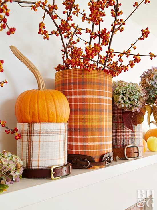 3 Unique Fall Mantel Displays Using Glass Containers Fall