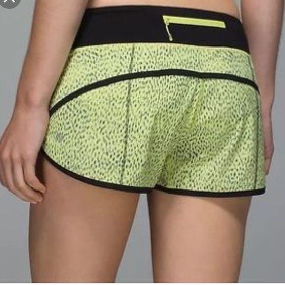 RareLulu Speed Shorts These are like new. Barely worn. Really cool rare cheetah print pattern. No trades. lululemon athletica Shorts