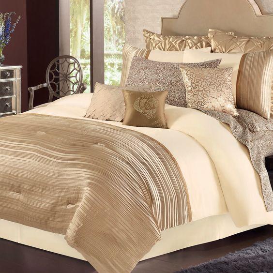 Bedroom Comforter Sets, Luxury Cream And Gold Bedding
