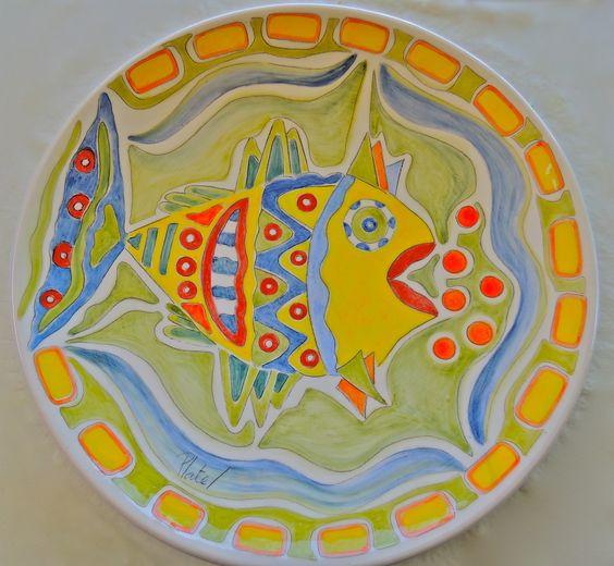plato grande ceramica pez.  tecnica oxido.