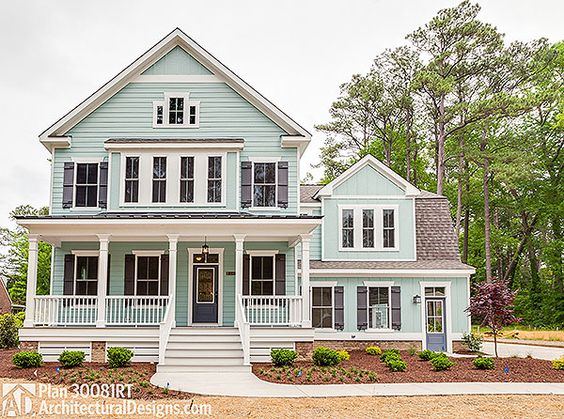 Farmhouse Plan 30081RT: 4 to 5 beds, master and laundry up, screened porch in back. Perfect!: