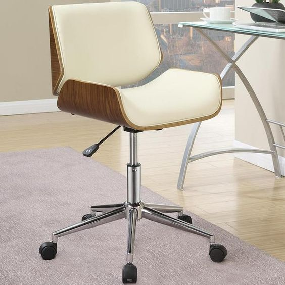 Astrid Adjustable Modern Curved Wood Upholstered Swivel Office Chair Chairs