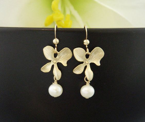 Orchid and Pearl earrings Pearl Jewelry Sterling by hotmixcold