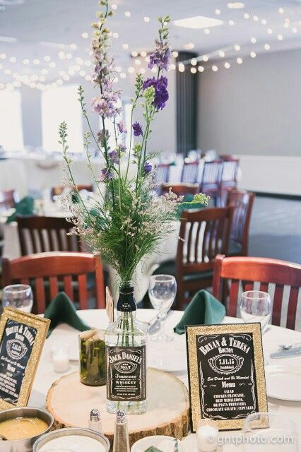 Whiskey bottle centerpieces and on pinterest