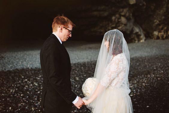 black sand beach wedding ceremony in iceland