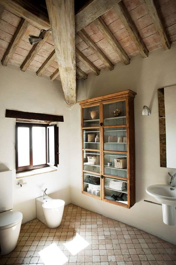 The floor stucco walls and bathroom wall cabinets on for Open beam ceiling ideas