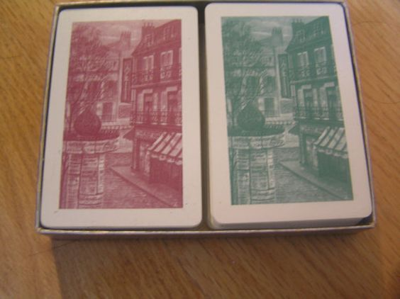 Vtg Tower Playing Cards French Cafe Street by SevenSistersBooks