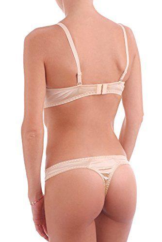 Womens Satin Superboost Heavy Padded Push Up Bra Set Lace Thongs Knickers (32 B + S, Beige) - Royal Hub