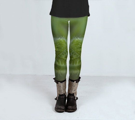 Green Yoga Leggings printed photographic compression fitness S - L by ParadoxYoga on Etsy