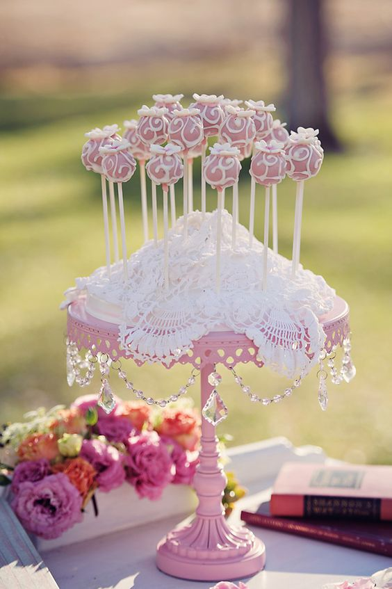 pink and white cake pops by Viva Las Cake Pops
