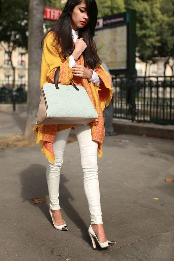 Lydia Lavin poncho, COS shirt, Louis Vuitton shoes, Rebecca Minkoff jeans, Furla bag